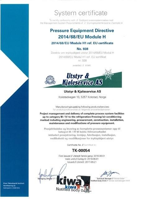 U&K sitt System sertifikat fornyet
